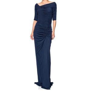 NWT Tadashi Shoji Asymmetrical Ruched Sleeve Gown